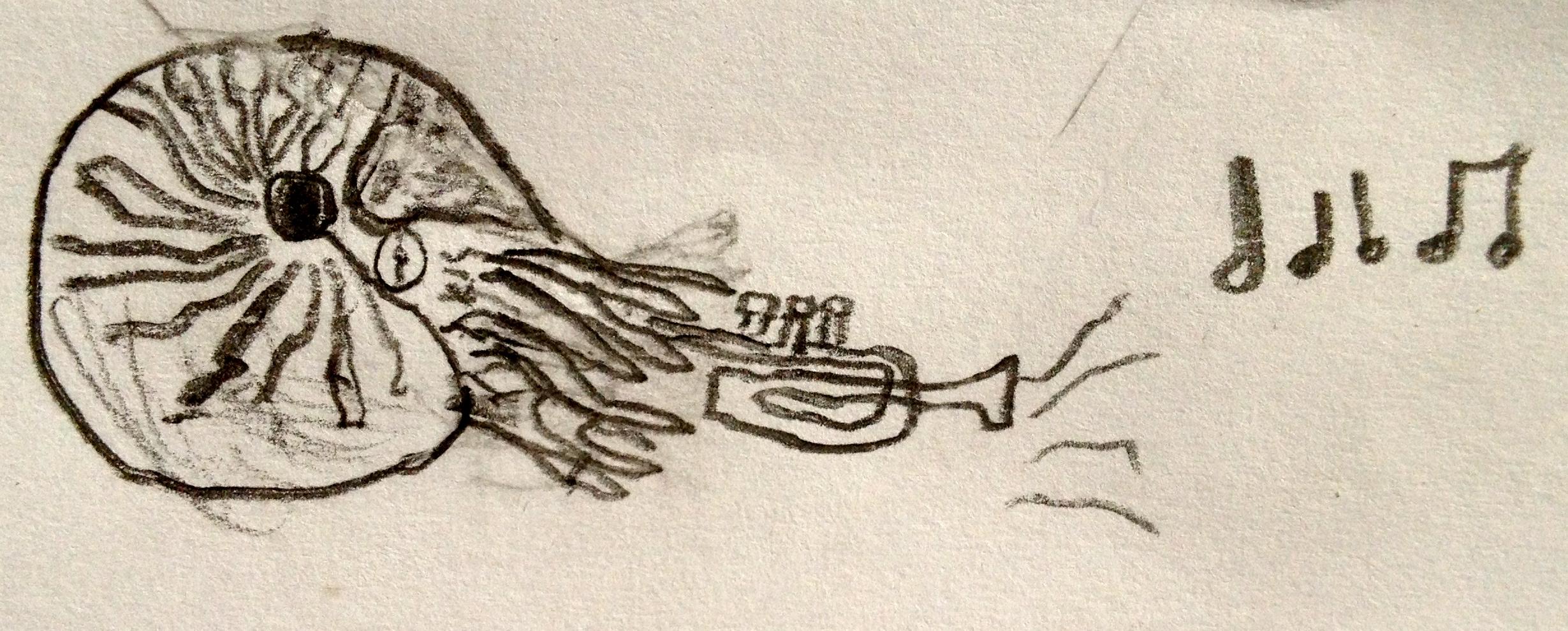 My son, Owen Curtis, drew this flexible nautilus superhero playing trumpet.