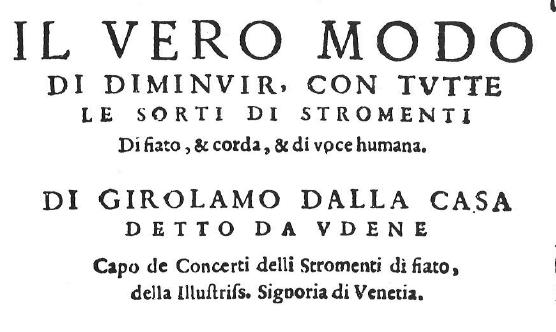 Title Page of dalla Casa's Il Vero Modo di Diminuir