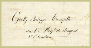 Signature of Philippe Goetz, of the First Dragoon Regiment, original owner of the two cornet books
