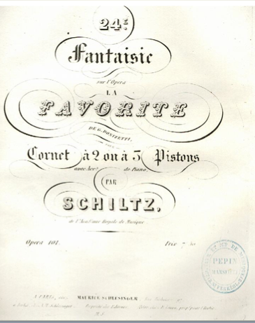 "Title page of J. B. Schiltz's Fantasy on themes from Donizetti's ""La Favorita"""