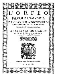 Original title page of Orfeo