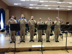 Chris Sala with some other members of the U.S. Navy Band trumpet section