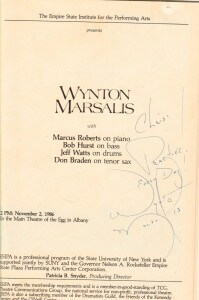 Program from 1986 with autograph from Wynton Marsalis, dedicated to Chris Sala
