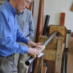 George Taylor demonstrating making an organ pipe at the Taylor and Boody workshop in Staunton, Virginia