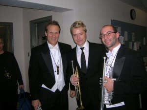 Trumpet section with Sting, New York City, 2009. l-r: Chris Gekker, Chris Botti, and Mike Blutman