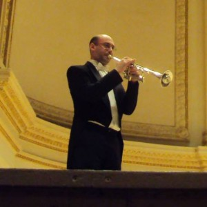 Mike warming up at intermission of an Orchestra of St. Luke's performances at Carnegie Hall