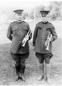 Anglo Canadian Leather Company Band leader Herbert L. Clarke (left) and C. O. Shaw (right), owner of the Anglo Canadian Leather Company, Huntsville, Ontario.