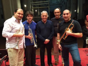 l-r, Esteban Batallan, first trumpet in Granada, Spain, Nicola Martelli, second trumpet of La Scala di Milano, Zubin Mehta, Francesco Tamiati, first trumpet  of La Scala, and Marco Vicario