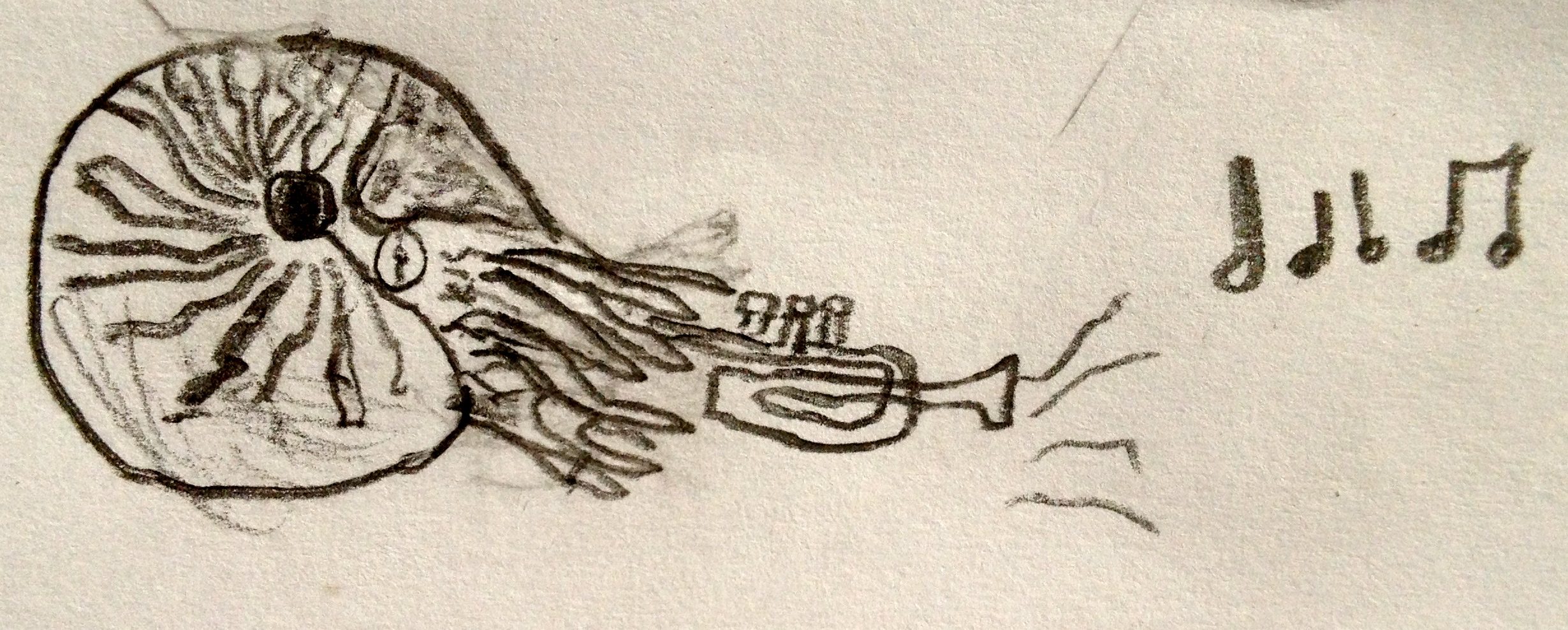 My son, Owen Curtis, drew this flexible nautilus superhero playing trumpet.