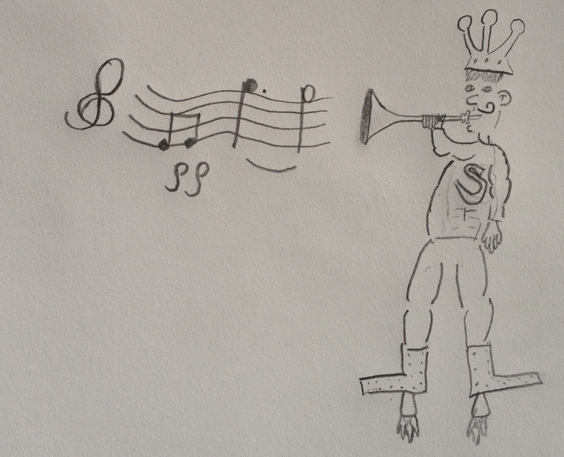 My son, Felix Curtis, drew this superhero playing trumpet very softly.