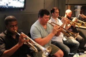 Bobby Sanabria Big Band recording session (from left to right: Shareef Clayton, Kevin Bryan, Jonathan Barnes, Andrew Neesley). Photo credit: Jazzheads (record label)