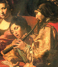 Cornett player with singer (unknown 16th-c. painting)