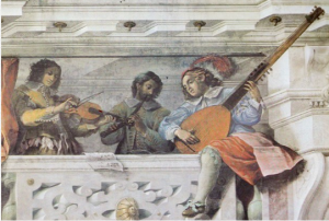 Trompe l'oeil of a gallery of musicians with cornettist