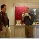 Barry Bauguess trying coiled trumpet with Ed Tarr at Bad Säckingen Museum