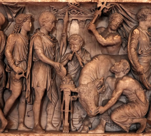 2nd-century Sarcophagus with tibia being played.  Mantua, Ducal Palace