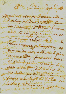 "Letter by Monteverdi of 1627 to his patron, Marchese Enzo Bentivoglio, discussing music appropriate for a presentation of Tasso's ""Aminta."" In a different letter about a proposed maritime opera, Monteverdi indicates that cornetts and trombones would be appropriate but not elegant."