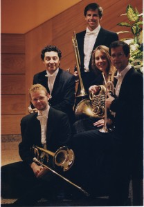 1995 photo of the Brass Quintet of the Orquesta Sinfónica de Galicia. Petur Eriksson, bass trombone, Aigi Hurn, trumpet, Jon Etterbeek, trombone, Amy Schimmelman, horn. I am on the far right (everyone else in the photo is still in the OSG!). I had to learn Spanish on the job and on the street in La Coruña.