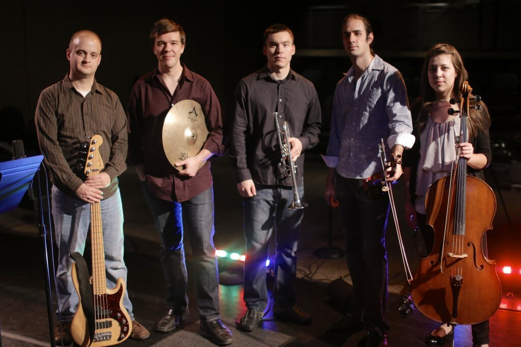 Phonic Wrikle: L to R, Kyle Augustine, Paul Keesling, Neil Brown, Nick Montopoli, Natalie Spehar