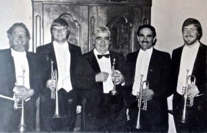 NSO Trumpet Section with Maurice André,  1985: (l.to r.) Dave Flowers, Steve Hendrickson, Maurice André, Adel Sanchez, and Keith Jones.