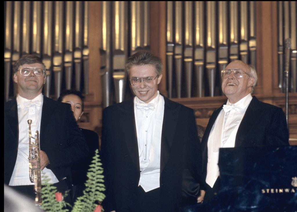 (l. to r.) Steve Hendrickson, Ignat Solzhenitsyn, Mstislav Rostropovich