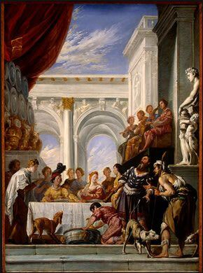Domenico Fetti (Roman, 1589-1623) The Parable of Lazarus and the Rich Man (1618/1628). Notice the cornett player among group of musicians in upper right.
