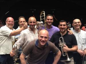 Brass section of the Maggio Musicale Fiorentino (Florence). L-R back row, Simone Squarzolo, Marco Crusca, Emanuele Antoniucci, Andrea d'Amico, Marco Vicario, Claudio Quintavalla, and, in front, Fabiano Fiorenzani.