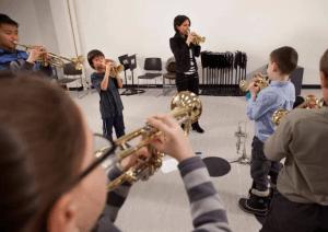 Natalie DeJong teaching Suzuki trumpet at Mount Royal University
